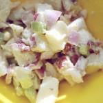 Svogūnų salotos su naminiu majonezu